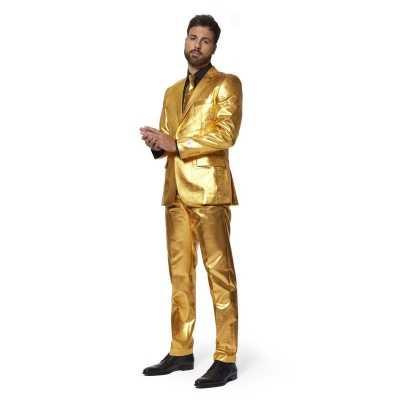 Heren verkleed outfit/kostuum metallic goud stropdas