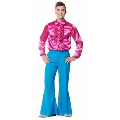 Hippie broek blauw wijde pijpen heren