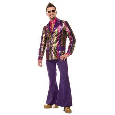 Hippie broek paars wijde pijpen heren