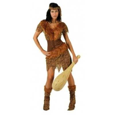 Holbewoonster/cavewoman ayla verkleed feest outfit/jurk dames