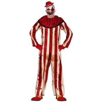 Horror clown billy verkleed feest outfit rood/wit heren