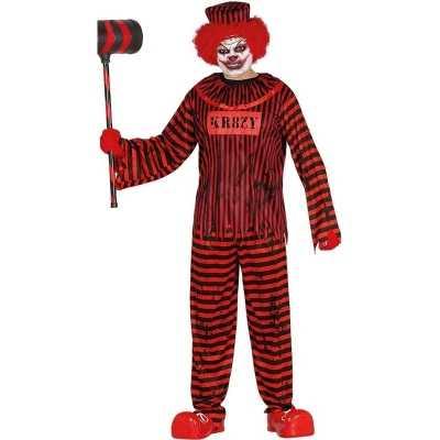 Horror clown gevangene verkleed feest outfit rood/zwart heren