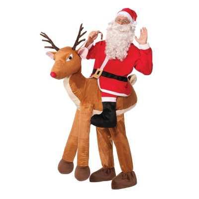 Instapkostuum kerstman op rendier volwassenen