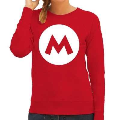 Italiaanse mario loodgieter verkleed sweater / trui rood dames