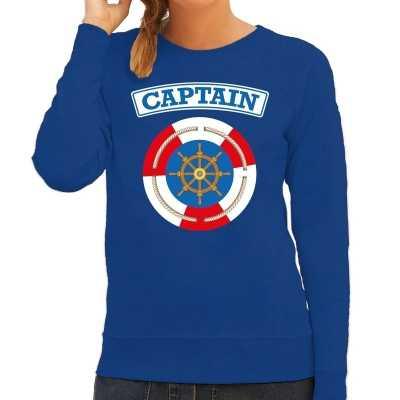 Kapitein/captain verkleed sweater blauw dames