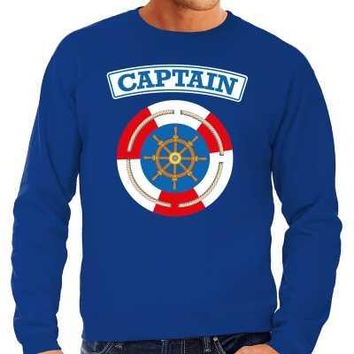 Kapitein/captain verkleed sweater blauw heren