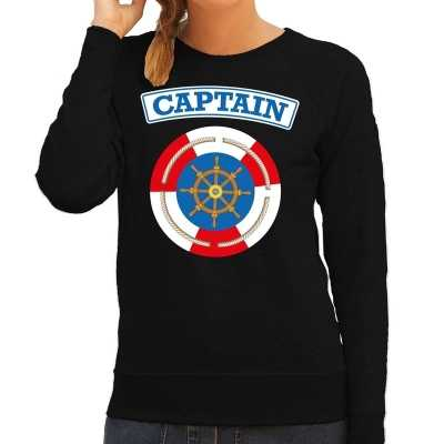 Kapitein/captain verkleed sweater zwart dames