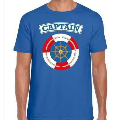 Kapitein/captain verkleed t shirt blauw heren