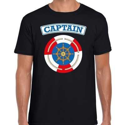 Kapitein/captain verkleed t shirt zwart heren