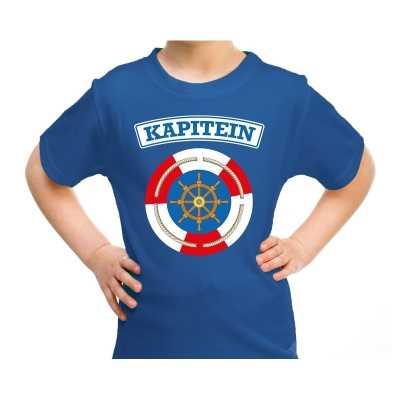 Kapitein verkleed t shirt blauw kinderen
