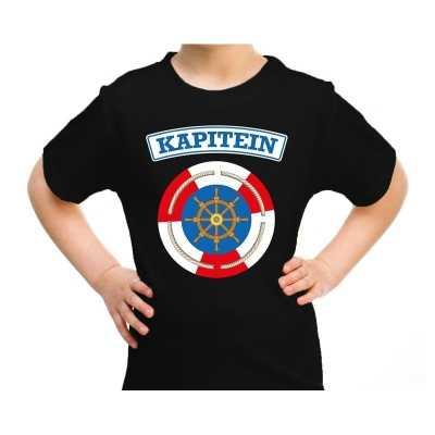 Kapitein verkleed t shirt zwart kinderen