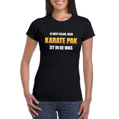 Karatepak zit de was dames carnaval t shirt zwart