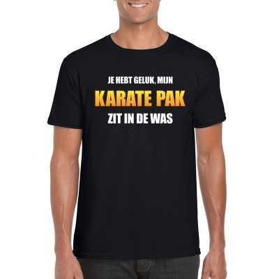 Karatepak zit de was heren carnaval t shirt zwart