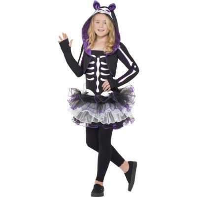 Kat skelet feest outfit kids