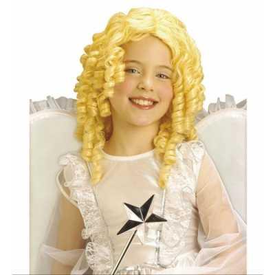 Krullende kinderpruik blonde kleur