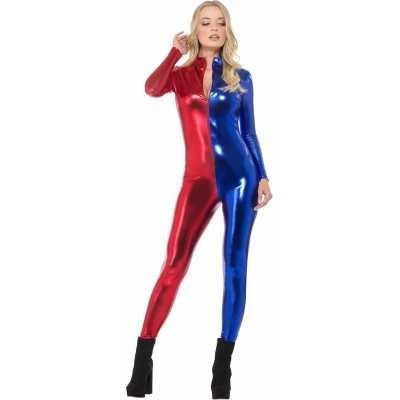 Metallic catsuit rood/blauw dames