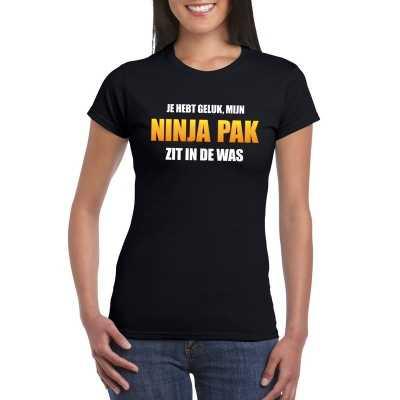 Ninja outfit zit de was dames carnaval t shirt zwart