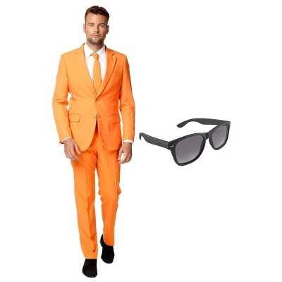 Oranje heren feest outfit maat 54 (xxl) gratis zonnebril