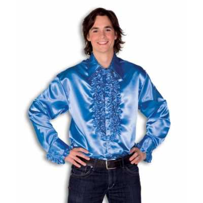 Overhemd blauw rouches heren