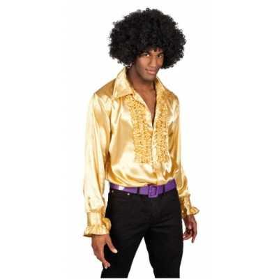 Overhemd goud rouches heren