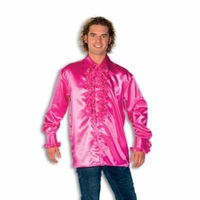 Overhemd roze rouches heren