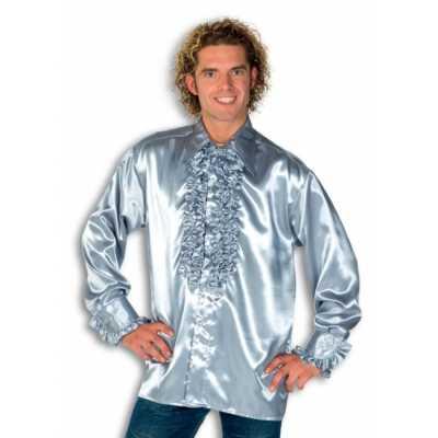 Overhemd zilver rouches heren