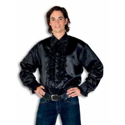Overhemd zwart rouches heren