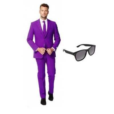 Paars heren feest outfit maat 48 (m) gratis zonnebril