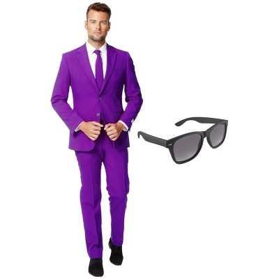 Paars heren feest outfit maat 56 (xxxl) gratis zonnebril