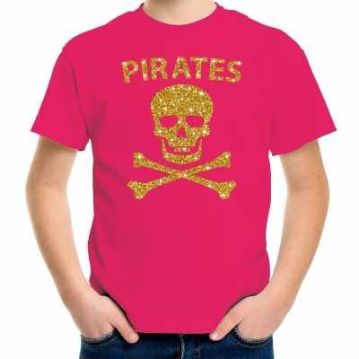 Piraten shirt verkleed shirt goud glitter roze kinderen