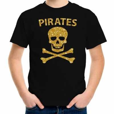 Piraten verkleed shirt goud glitter zwart kinderen