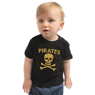 Piraten verkleedkleding shirt goud glitter zwart babys