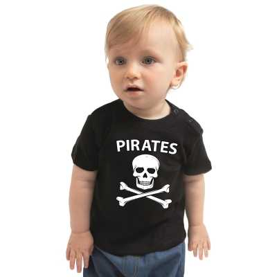 Piraten verkleedkleding shirt zwart babys