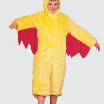 Pluche gele kip kinder feest outfit