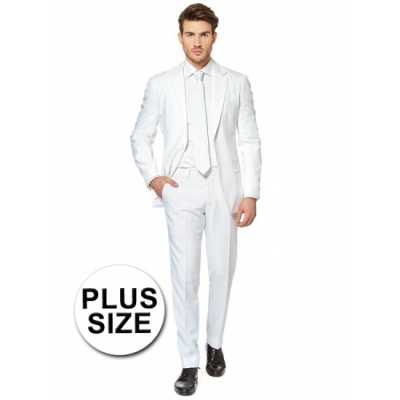 Plus size heren feest outfit wit