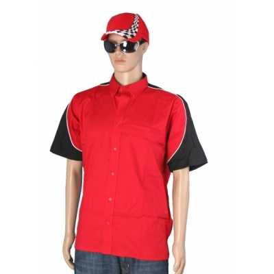 Race shirt rood race cap maat L