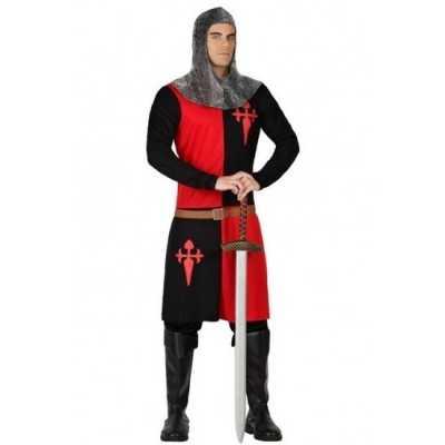 Ridder verkleed feest outfit zwart/rood heren