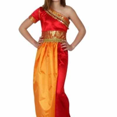 Rood gele oosterse jurk