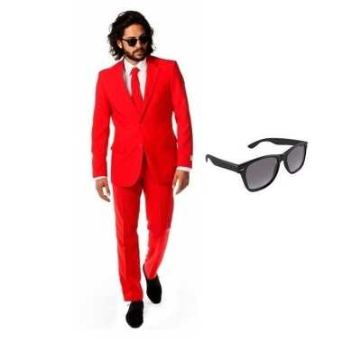 Rood heren feest outfit maat 54 (2xl) gratis zonnebril