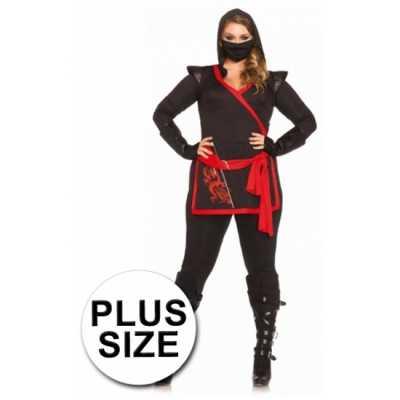 Rood zwart Ninja feest outfit dames