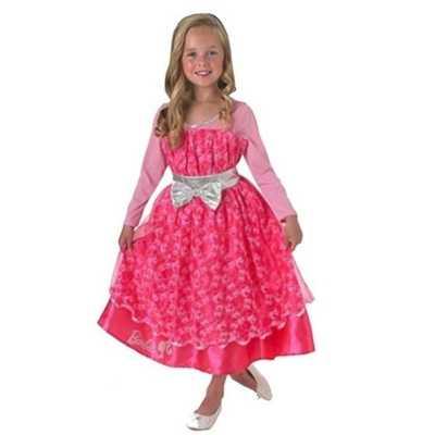 Roze barbie deluxe jurk meisjes