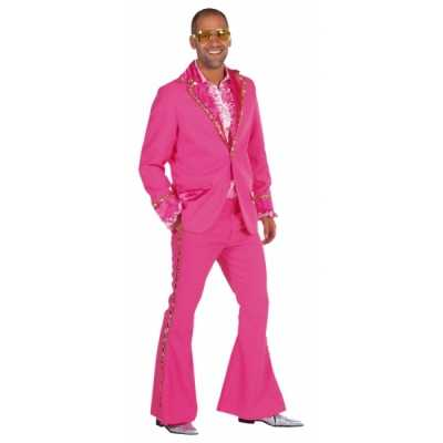 Roze glitter feest outfit heren