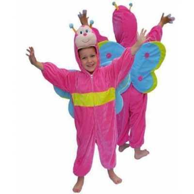 Roze vlinder feest outfit pluche