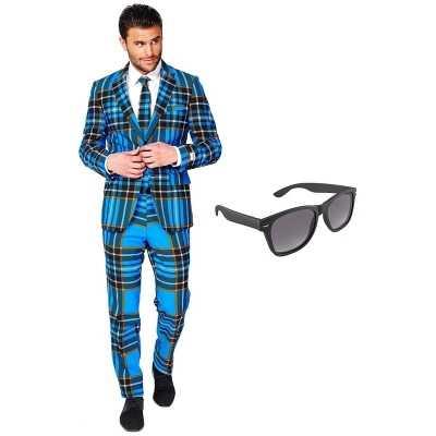 Schotse print heren feest outfit maat 56 (xxxl) gratis zonnebril