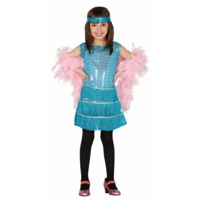 Showgirl jurk blauwe pailletten