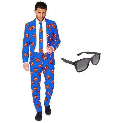 Superman heren feest outfit maat 58 (xxxxl) gratis zonnebril