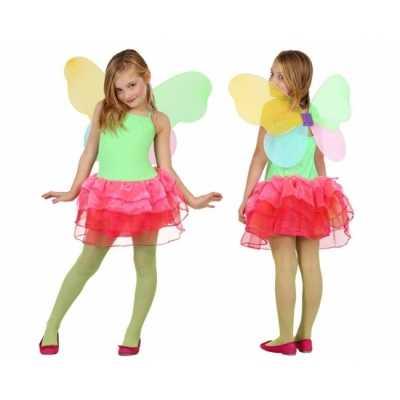 Vlinder feest outfit kids groen/rood