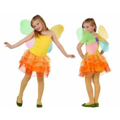 Vlinder jurk kinderen geel/oranje