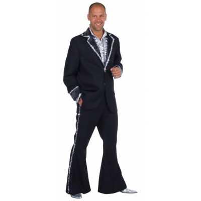 Zwart bling bling feest outfit heren
