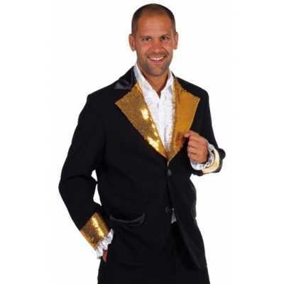 Zwart goud glitter feest outfit heren